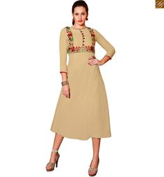 LONG KURTI DESIGNS OF JACKET STYLE EMBROIDERY AND FRONT BUTTONS ON TOPBEIGE PAKISTANI STYLE LONG KURTI DESIGNS WITH HEAVY PATTERNS ON NECK LINE, SIDE ARM AND FRONT BUTTON STYLE GIVES LOOK OF JACKET THAT ADDS