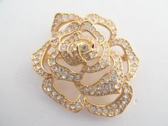 Elizabeth Taylor for Avon gold plated rose flower brooch figural AA826 by MeyankeeGliterz on Etsy