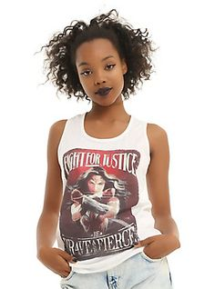 DC Comics Wonder Woman Fight For Justice Girls Tank Top, WHITE