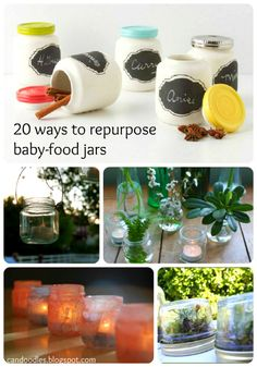 20 ways to repurpose baby jars. Since I still eat baby jars (there's almost nothing in there but comprehensible ingredients, I like that), it's going to be useful :) Baby Food Jar Crafts, Mason Jar Crafts, Baby Crafts, Crafts To Do, Mason Jars, Crafts For Kids, Diy Candles In Baby Food Jars, Bottles And Jars, Glass Jars