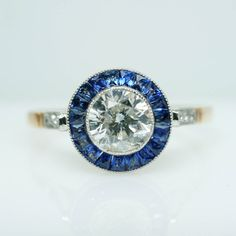 Antique Late Edwardian 1.07cttw Diamond & Sapphire Ring Engagement Ring with 18k Yellow Gold - Size 7