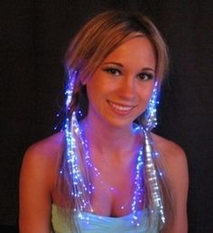 Glowbys fiber optic hair extensions.