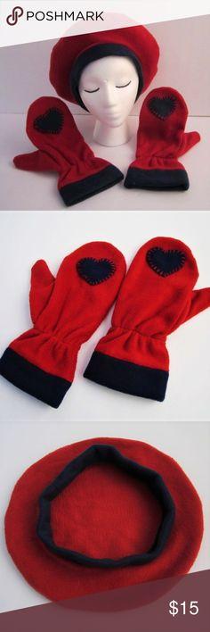 07417134d8c00 Tam Beret Hat Mitt Dark Red Navy Heart NEWhandmade Fleece Have Heart Daily  Accessories Hats
