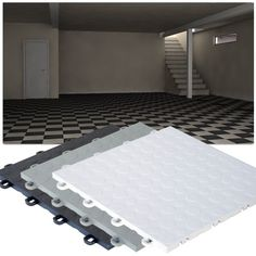 High-Impact Polypropylene Floating Basement Tiles are designed especially for your basement. Because basements tend to be humid, these interlocking tiles are designed with grooves underneath for air and water passage. This is needed so that mold does not Tile Basement Floor, Basement Subfloor, Tile Floor Diy, Basement Flooring Options, Basement Laundry, Basement House, Basement Walls, Basement Bedrooms, Diy Flooring
