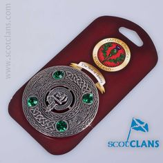 Pewter plaid brooch with MacThomas clan crest and emerald coloured stones