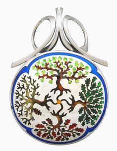 Four Seasons Pendant by artist Kristin Anderson Enamel Jewelry, Sterling Silver Jewelry, Jewellery, Kristin Anderson, Vitreous Enamel, Handcrafted Jewelry, Handmade, Figurative, Bridal Jewelry