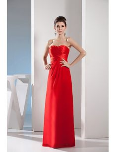 Formal Evening Dress-Ruby Sheath/Column Sweetheart Floor-length Chiffon / Charmeuse 4946070 2016 – $79.99