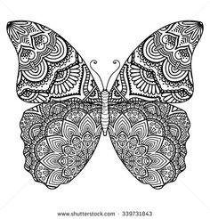 Butterfly. Vintage decorative elements with mandalas. Oriental pattern, vector illustration. Islam, Arabic, Indian, turkish, pakistan, chinese, ottoman motifs