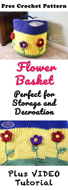 Flower Basket Pattern - Free Crochet Pattern - Nicki's Homemade Crafts