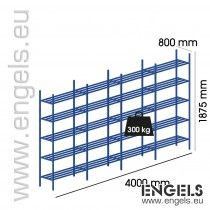 Metalen buis rek 4000x1875x800, 4 vakken, 20 legb.