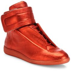 Maison Margiela Future Hi Saffiano Metallic Leather Sneakers : Maison... ($1,145) ❤ liked on Polyvore featuring men's fashion, men's shoes, men's sneakers, apparel & accessories, red, mens velcro strap sneakers, mens leather lace up shoes, mens leather shoes, mens high top sneakers and mens red sneakers
