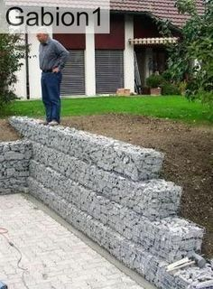 garden gabion retaining wall, ideal DIY project http://www.gabion1.co.uk