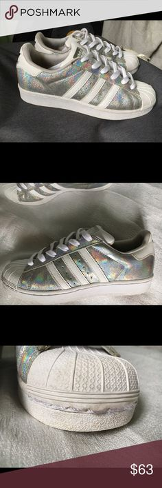 Adidas Superstar iridescent There's some dirt stains inside. Aside from that I'll say they're in pretty good condition🌈 Adidas Shoes Sneakers