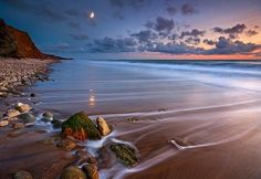 Moonrise at Compton Bay, Isle of Wight, England