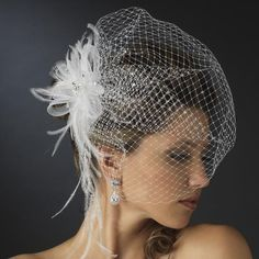 Jeweled Feather Fascinator with Russian Birdcage Veil
