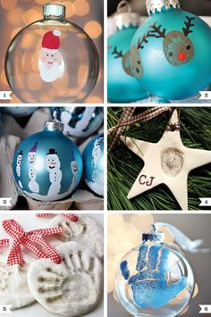 Cute ornaments.  We made the snowman hand prints 2 years ago for the grandparents.  They turned out really cute and each child picked their favorite color ball...