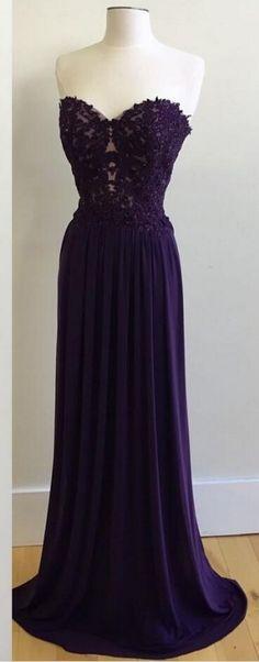 Elegant Appliques Prom Dresses,Sweetheart Prom Dresses,Long Purple Prom Dresses,Chiffon Prom Dresses,Custom Made Evening Dresses