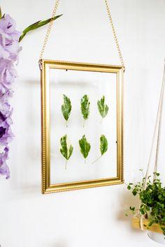 Hanging Gold Frame Leaf Art Angle View