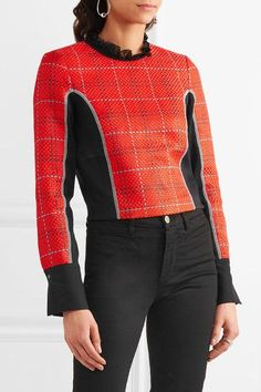 3.1 Phillip Lim - Silk Chiffon-trimmed Twill And Tweed Top - Red - US10