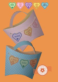 Free tutorial, pdf and studio. Bunting pillow box bags sweet heart. Love Valentine Party Favour Gift Wedding The Papercraft Post