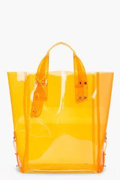 mcq alexander mcqueen  - orange kingsland vinyl shopping tote