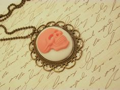 Pink Skull Cameo Necklace by KrystalLAtelier on Etsy, $19.00