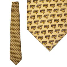 Gold UNI tie with small logos. $28.99