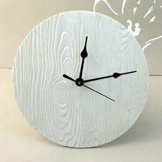 10 inch Wood Texture Ceramic  Wall Clock. $65.00, via Etsy.