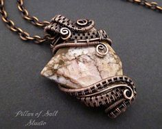 Wire wrapped pendant necklace / Wire Wrapped jewelry handmade / Copper wire jewelry / woven wire pendant / brown zebra jasper gemstone