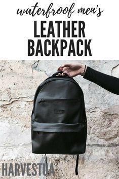 $62.10 USD vegan leather and polyester lining waterproof men's backpack suitable for laptop #HarvestUA #veganleather #vegan #laptopbackpack #laptop #backpack #waterproof #rucksack