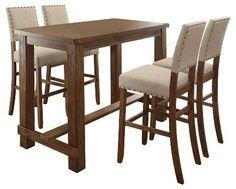 Furniture of America Sun & Pine 5pc Rustic Bar Table Set - Natural Tone