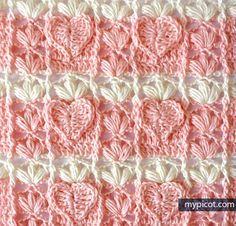 MyPicot | Free crochet patterns - textured heart stitch