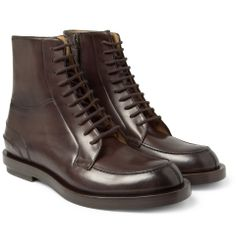 PRODUCT - Gucci - Burnished Lace-Up Leather Boots - 371297 | MR PORTER