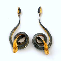 Margot diCono, Homage to Victor Horta earrings, bimetal 22-karat gold/sterling silver, 24-karat gold, 18-karat gold