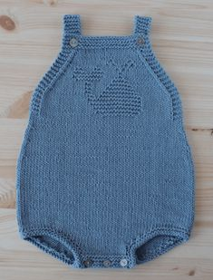 Baby Knitting Patterns Onesie Free Knitting Pattern for Whale Baby Romper - Cute onesie with whale motif in kn. Baby Romper Pattern Free, Onesie Pattern, Baby Boy Knitting Patterns Free, Free Pattern, Crochet Patterns, Pattern Ideas, Stitch Patterns, Knitted Baby Clothes, Knitted Romper