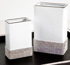 """Design Sophie Villepigue, Paris """"DIVA Blanc"""" Limoges White Porcelain. Hand-decorated Vase with Swarovski® Crystals .."""