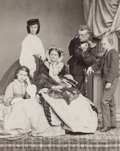 Ludovika, Duchess in Bavaria with children (froL to R) Sophie Charlotte, later Duchess d´Alencon, Mathilde Ludovika, later Countess o Trani, Carl Theodor and Maximilian Emanuel. Early 1860s.