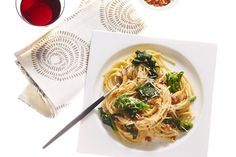 Miso Carbonara with Broccoli Rabe and Red-Pepper Flakes / Andrew Purcell, food styling by Rhoda Boone