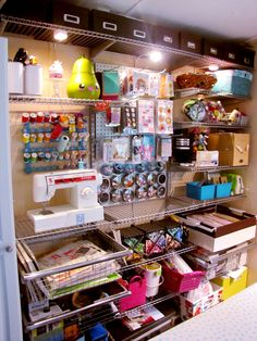 Using Rubber Maid closet system to organize storage space - Odd Girl's blog entry with more studio photos