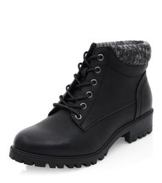 Wide Fit Black Cuffed Lace Up Ankle Boots