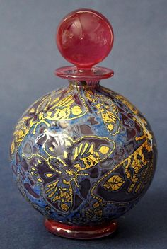 Timothy Harris Isle of Wight Studio Glass Graal Red & Blue Perfume Bottle Gold Butterflies http://www.bwthornton.co.uk/isle-of-wight-richard-golding-bath-aqua-glass.php