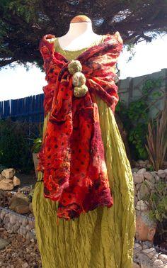 Nuno felted orange black wool & silk Shawl wrap by Angelab5705