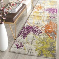 Safavieh Porcello Contemporary Floral Ivory/ Grey Rug (2' 4 x 11')