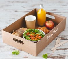 Esta caja en forma de bandeja es perfecta para desayunos o comidas take away. En ella, puede comer u Pub Food, Cafe Food, Food Menu, Honey Packaging, Takeaway Packaging, Sandwich Packaging, Breakfast Basket, Burger Restaurant, Coffee Shop Design