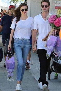 Miranda Kerr wearing Mansur Gavriel Leather Bucket Bag and Isabel Marant Bart Sneakers