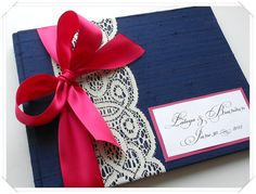 Custom Wedding Guestbook Navy and Fuchsia (made to order) on Etsy, $42.00