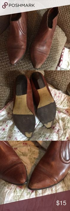 Circles brand established 1970 Leather brown shoes Offered here is this vintage pair of circles brand established 1970 brown leather Low top boots size 7 1/2 they are gently worn. Circles Shoes Ankle Boots & Booties