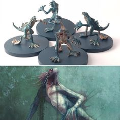 Deep Ones from . Dnd Mini, Paint Games, Call Of Cthulhu, Mini Paintings, Minis, Tabletop Games, Miniture Things, Pulp Fiction, Figure Painting