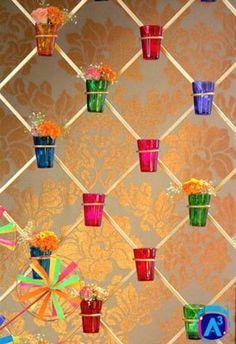 Colourful Mehendi thats high on Indian Kitsch! You'll love this free designer mehendi theme with super fun DIY mehendi decor ideas! Housewarming Decorations, Diwali Decorations, Stage Decorations, Festival Decorations, Flower Decorations, Desi Wedding Decor, Indian Wedding Decorations, Wedding Events, Wedding Ideas