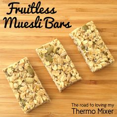 I experimented with this muesli slice the other day and it has been a massive hit here with the kiddies and my partner.  It is fruitless however you can certainly add fruit or nuts to it. Its very adaptable.  I chop the slice up into bar shapes and wrap in baking paper. You could use cling wrap
